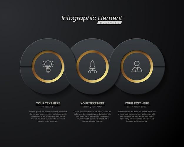 Elegante infografik-3d-vorlage aus dunklem gold mit schritten für den erfolg. präsentation mit linienelement-symbolen.