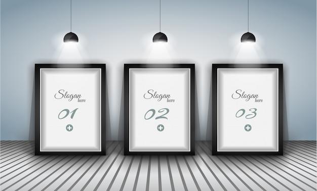 Elegante infografiken vorlage mit shopfront-elementen.