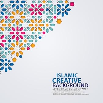 Elegante islamische kreative hintergrundschablone mit dekorativem buntem mosaik