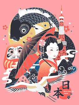 Elegante japan-konzeptillustration, kulturelles symbol mit japan-ländernamen im japanischen wort