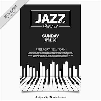 Elegante jazz-broschüre mit klaviertasten
