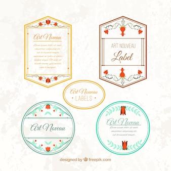 Elegante jugendstil-etiketten mit floralen details