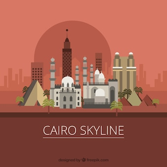 Elegante kairo-skyline mit flachem design