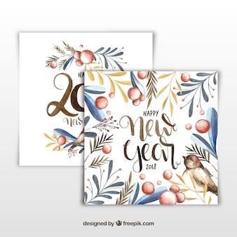 Elegante karten des neuen jahres 2018 des aquarells