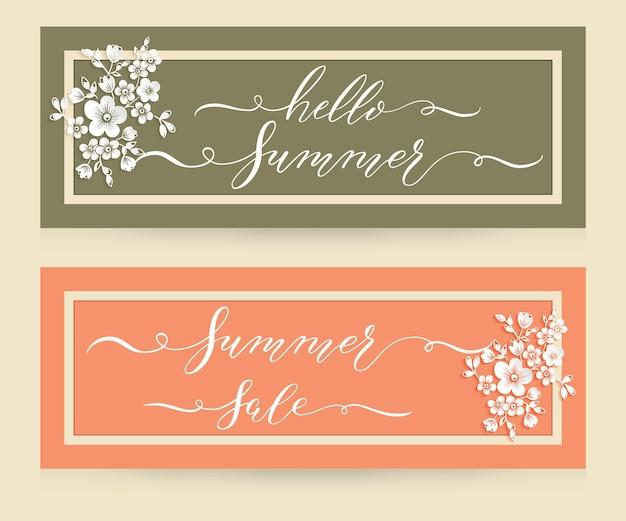 Elegante karten mit hello summer und summer sale schriftzug. karten mit rahmen, blumenelementen und schöner typografie.