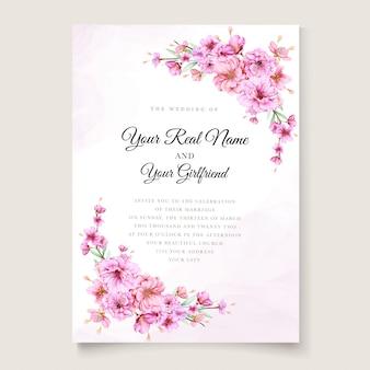 Elegante kirschblütenhochzeitseinladungsschablone
