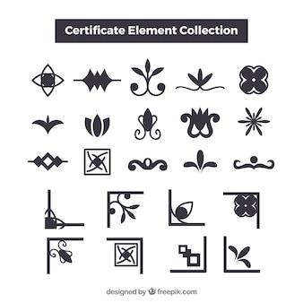 Elegante kollektion von cerficate-elementen