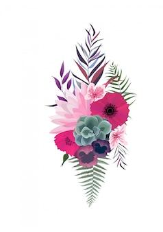 Elegante komposition mit lotus und anemone