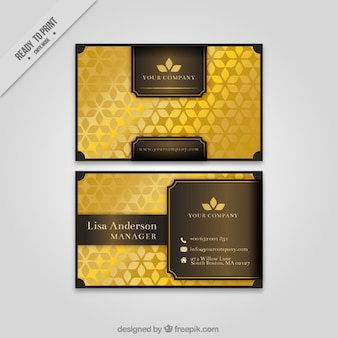 Elegante korporative karte mit goldenen blumenformen