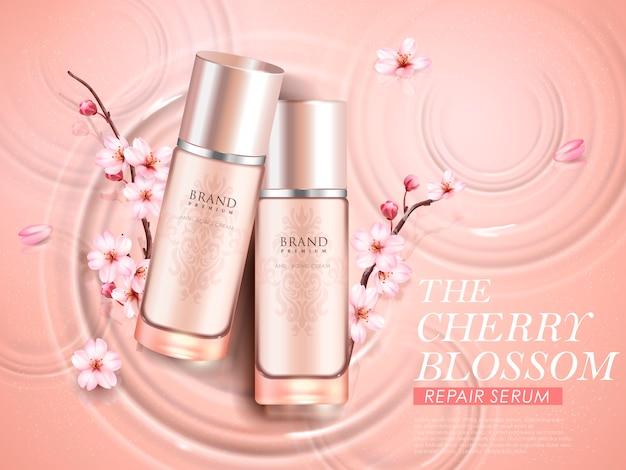 Elegante kosmetische anzeigen der kirschblüte, draufsicht von zwei exquisiten flaschen mit sakurazweigen auf wellenhintergrund in der illustration