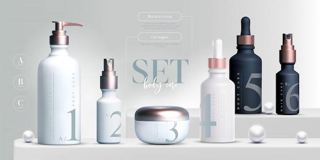 Elegante kosmetische produkte setzen hintergrund