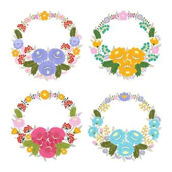 Elegante kränze oder runde rahmen aus dekorativen blättern und blumen