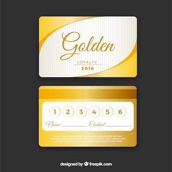 Elegante kundenkartenschablone mit goldener art