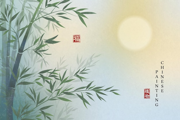 Elegante landschaft der chinesischen hintergrundmalereikunsthintergrundpflanze