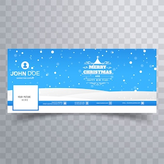 Elegante landschaft der frohen weihnachten mit facebook-fahne