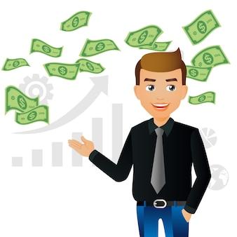 Elegante leute-geschäftsleute auf geldhaufen bargeld