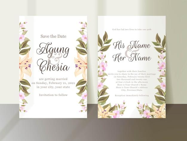 Elegante lilie hochzeitseinladungskarte gesetzt