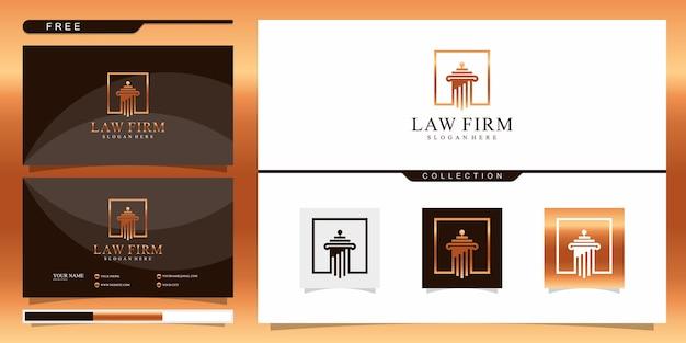 Elegante logo-vorlage für anwaltskanzleien. logo-design und visitenkarte