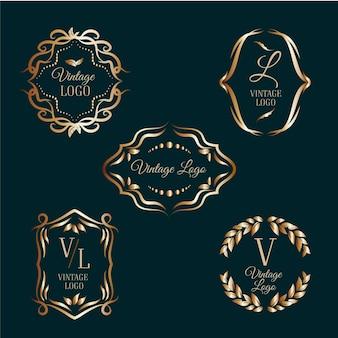 Elegante logos mit goldenen rahmen