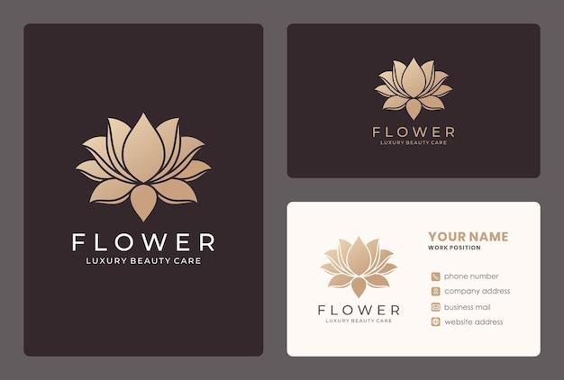 Elegante lotusblume, naturkosmetik, logo-design des schönheitssalons mit visitenkartenschablone.