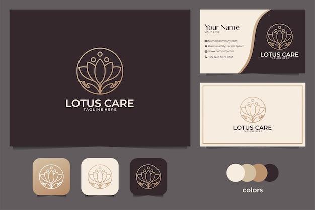 Elegante lotuspflege mit strichgrafik-logo-design und visitenkarte