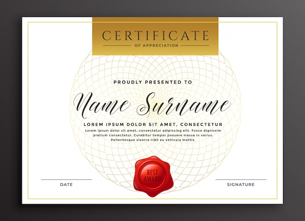 Elegante luxus moderne zertifikat design-vorlage