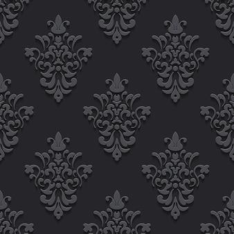 Elegante luxusstruktur schwarz mit schatten. muster nahtloser hintergrund, endlos und wiederholung, vektorillustration