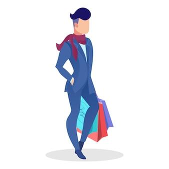 Elegante männliche käufer-flache vektor-illustration