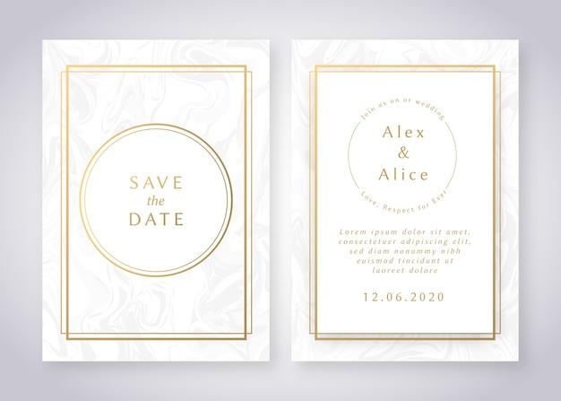 Elegante marmorhochzeits-einladungsschablone mit goldenen details