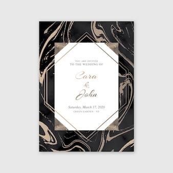 Elegante marmorhochzeits-einladungsschablone
