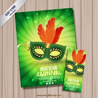 Elegante maske flyer und poster