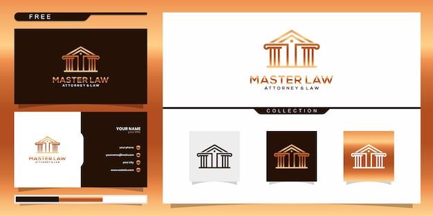 Elegante master law firm logo vorlage. logo-design und visitenkarte