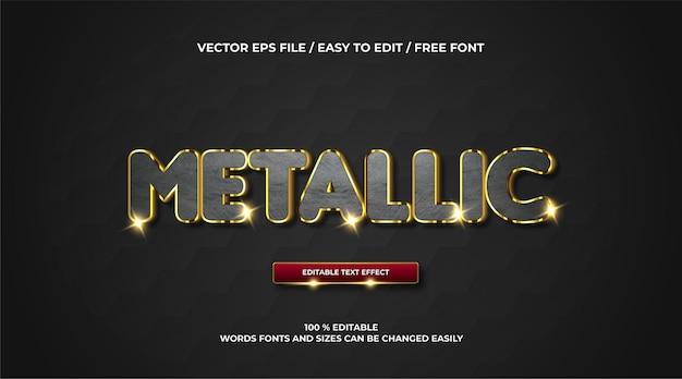 Elegante metallische texteffekt-3d-vorlage
