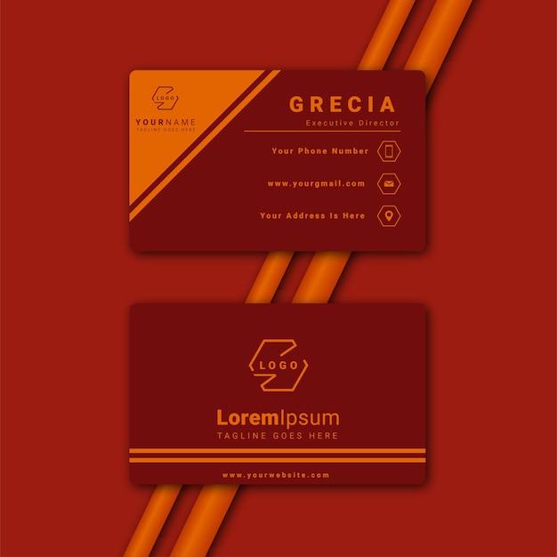 Elegante minimale rote und gelbe visitenkartenvorlage