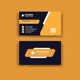 Elegante minimale schwarze und gelbe visitenkartenvorlage