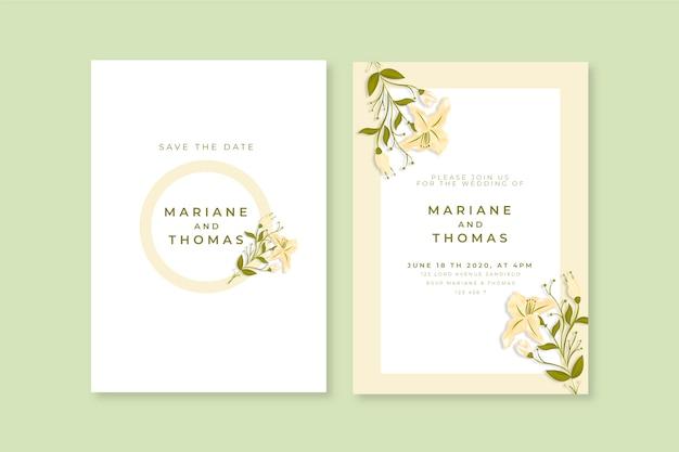 Elegante minimalistische blumenhochzeits-einladungsschablone