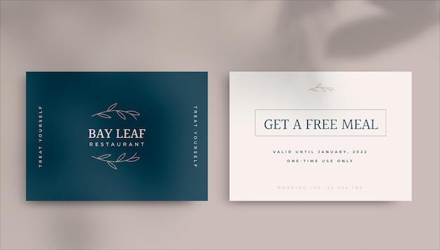 Elegante minimalistische geschenkgutscheinvorlage für restaurants