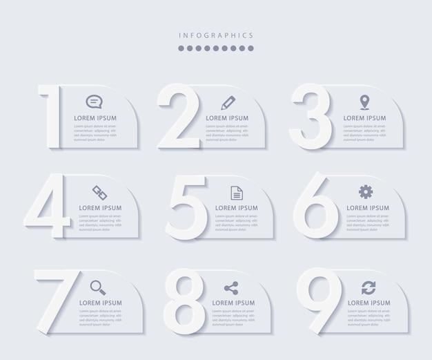 Elegante minimalistische infografik mit 9 schritten