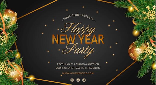 Elegante neujahrsparty banner mit realistischer dekortion