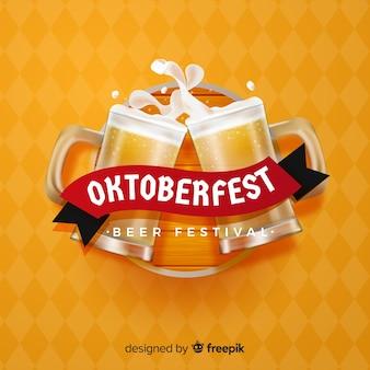 Elegante oktoberfest komposition mit realistischem design