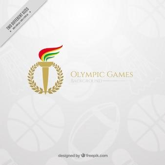 Elegante olympischen spiele hintergrund mit einer fackel