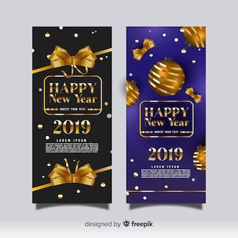 Elegante Parteifahnen des neuen Jahres 2019 mit realistischem Design