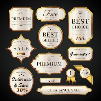 Elegante perlweiße etiketten mit glänzenden etiketten