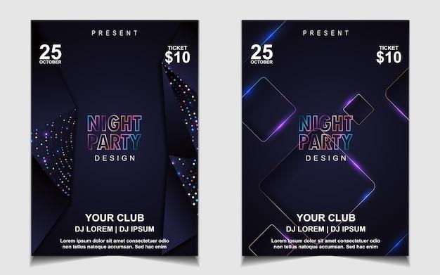 Elegante plakatschablone für elektromusikfestival mit buntem licht