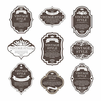 Elegante premium-etiketten-set-kollektion