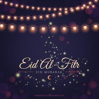 Elegante ramadan hintergrund mit lichtern girlanden