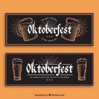 Elegante reihe von vintage-bannern für oktoberfest