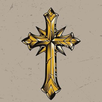 Elegante religiöse kreuzschablone des weinlesegoldes
