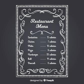 Elegante restaurantmenüschablone mit tafelart