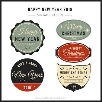 Elegante retro weihnachten und neujahr aufkleber pack